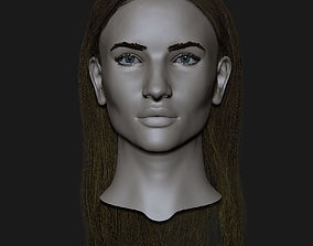 Realistic head cute blonde girl 3D