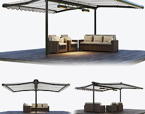 3D Two sided casset awning with rattan garden furniture