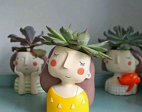 Decoration Planter Pot Cute Girl 2 stl for 3D printing 1