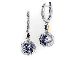 3D print model Fashion earrings with Sphere element
