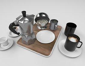3D asset coffee set