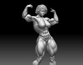 Woman body builder muscle sculptures standart poses 3D
