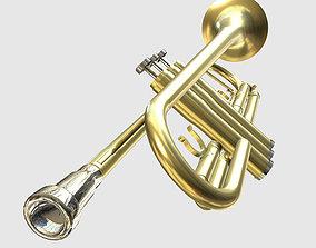 3D asset Low Poly PBR Trumpet