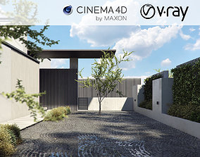 VRay - C4D Scene Files - Home exterior courtyard 3D model