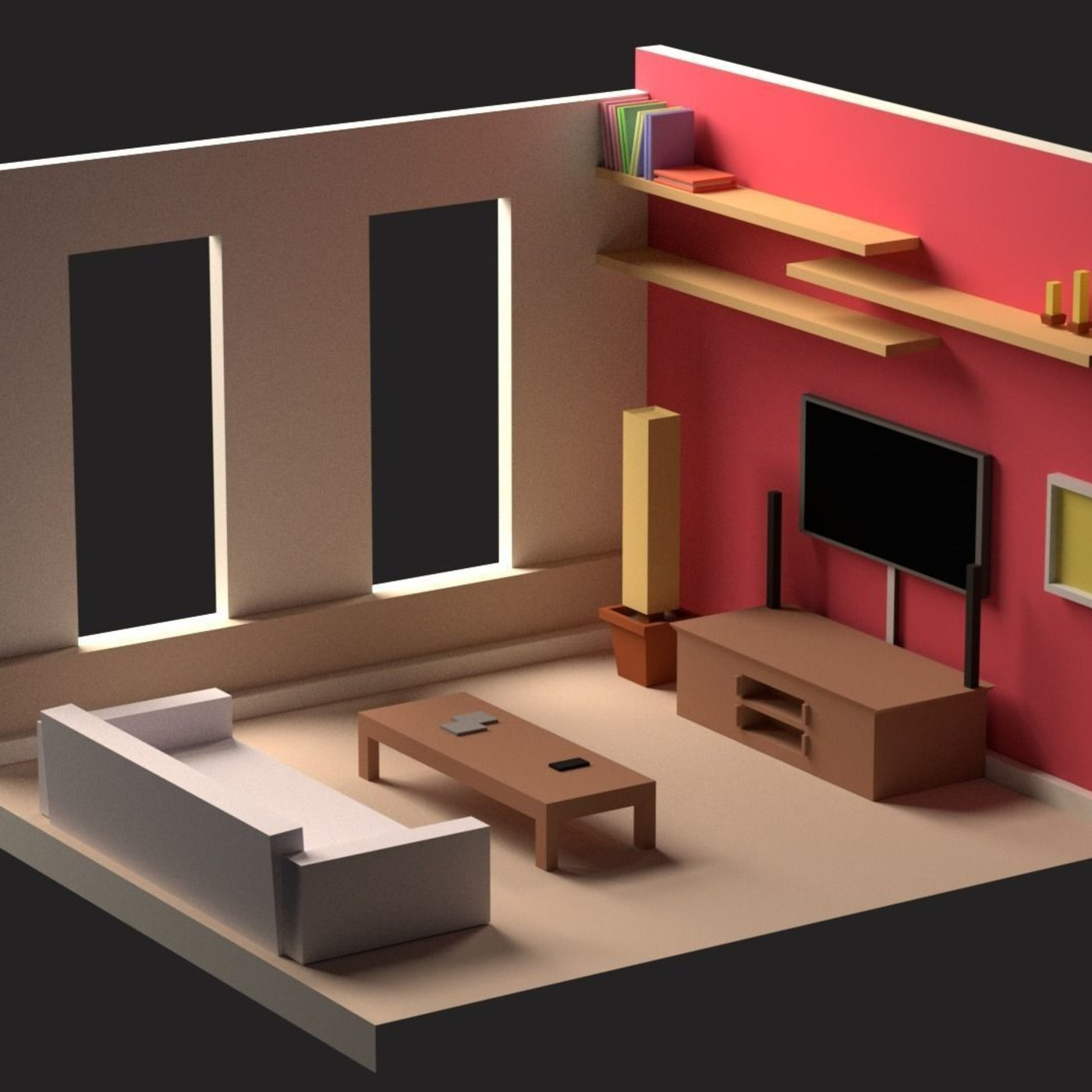 Isometric low poly interiors