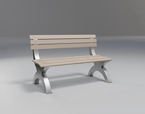 3D model outdoor bench - beige wood - modern rough