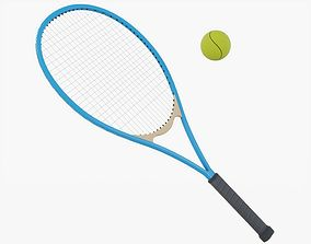 Tennis Racket with Ball 3D model