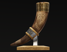 Drinking Horn Cup - Brown 3D model