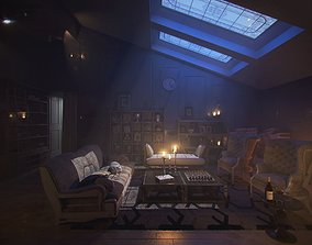 3D model Sunset moody old acient rustic classic living 1