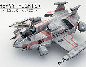 Heavy Space Fighter 3D model low-poly