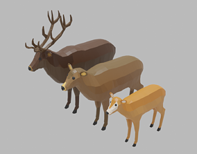 3D model Cartoon Deer Family