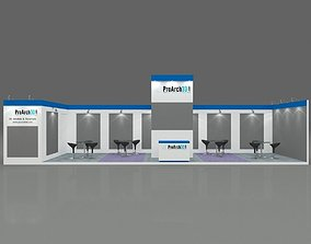 Exhibition stall 3d model 12 mtr x 3 mtr 1 side open
