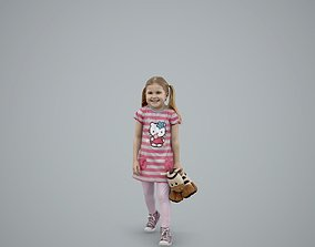 Blonde Little Girl with a Toy 3D model