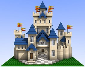 Lego-compatible style bricks castle 3D model
