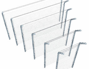 Wire mesh fence with barbed wire fence 3D model