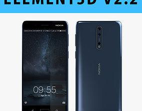E3D - Nokia 8 Polished Blue 3D model 3D model