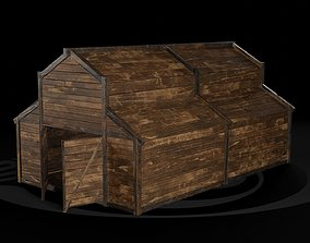 AAA Wooden Enterable Medieval Primal Warehouse 02 3D asset