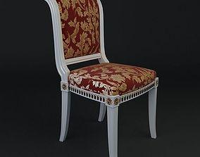 Antique Chair Brocade Armless 3 3D