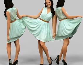 3D asset Girl lifting green dress