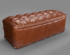 Leather Tufty Ottoman 3D