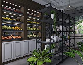 3D Grocery shop modern combining