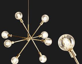 Armstrong Chandelier 8 Light Natural Brass 3D