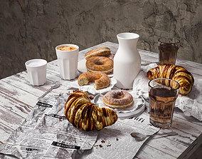 3D Braekfast set croissant