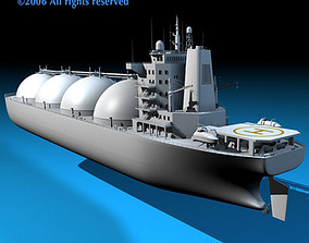 animated Gas ship 3D model