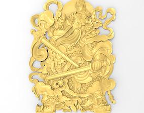 3D printable model Chinese warrior swordsman bas relief 1