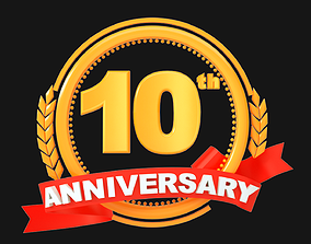 year 10th Anniversary Animated Logo 3D model