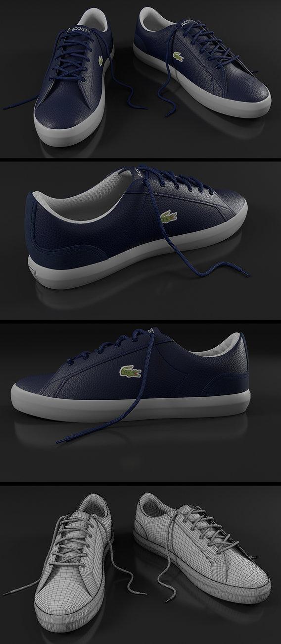Lacoste Navy White Shoes Render