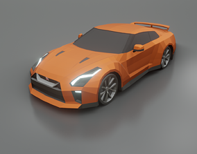 realtime Nissan GT-R 2020 low poly 3D model