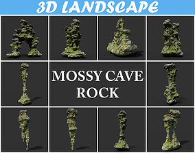 3D Low poly Mossy Cave Rock Pack 191220