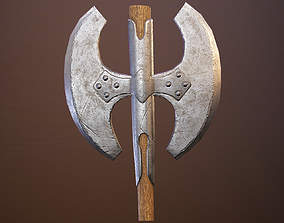 3D model Medieval double-sided axes pack