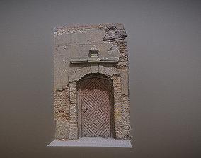 Old broken gate - door with relief decoration 3D model