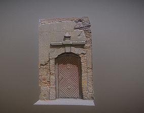 Old broken gate - door with relief 3D asset
