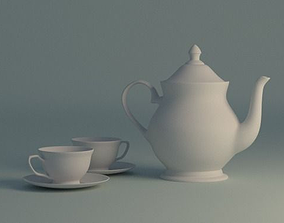 Teapot and Cups 3D model