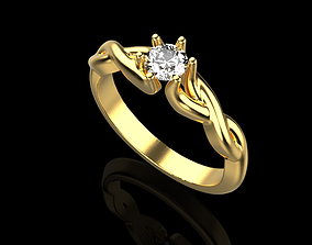 3D printable model ring with one large stone