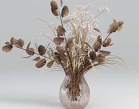 3D model Bouquets of dried eucalyptus with flowers and