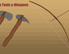 3D model Low-Poly Primitive tools and weapons