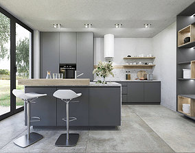 Grey natural kitchen 3D model