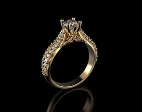 engagement-ring 18K Yellow God Diamond Ring 3D print model