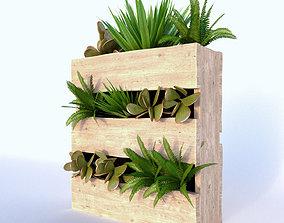 3D green Planter Wodden Box