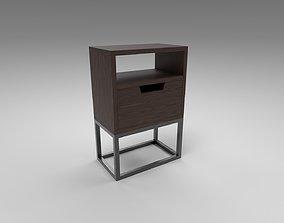3D asset Modern bedside table dark brown