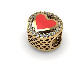 3D printable model painted heart and stones charm ball