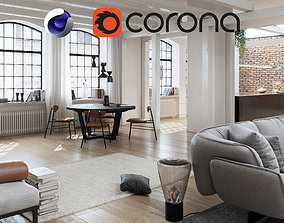 3D model Workshop Apartment in London Cinema 4D and Corona
