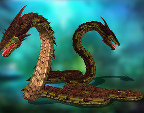 Dragonsnake 3D asset animated