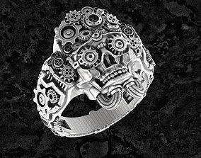 Steampunk-ring 3D print model skull