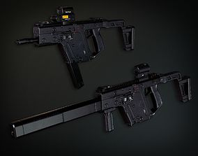 3D model Lowpoly PBR Vector Submachine Gun