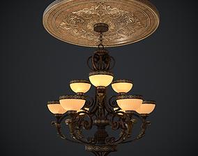 Chandelier nine lights with Ceiling medallion 3D asset